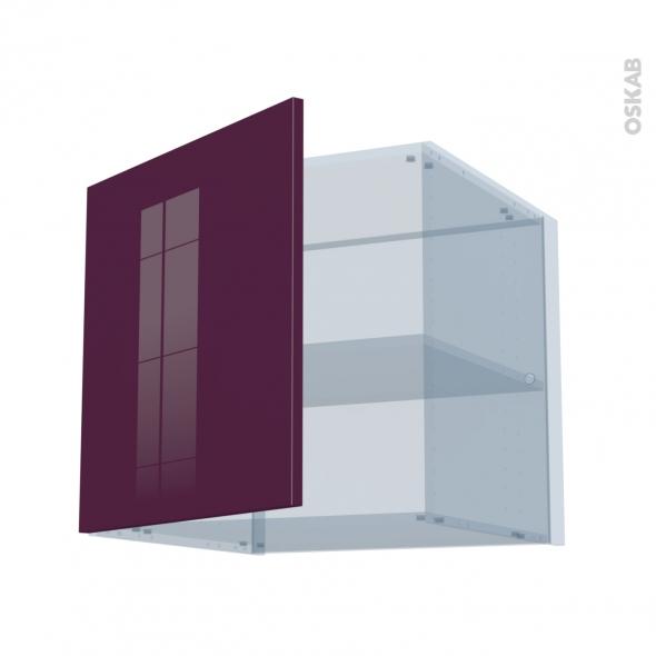 KERIA Aubergine - Kit Rénovation 18 - Meuble haut ouvrant H57 - 1 porte - L60xH57xP60