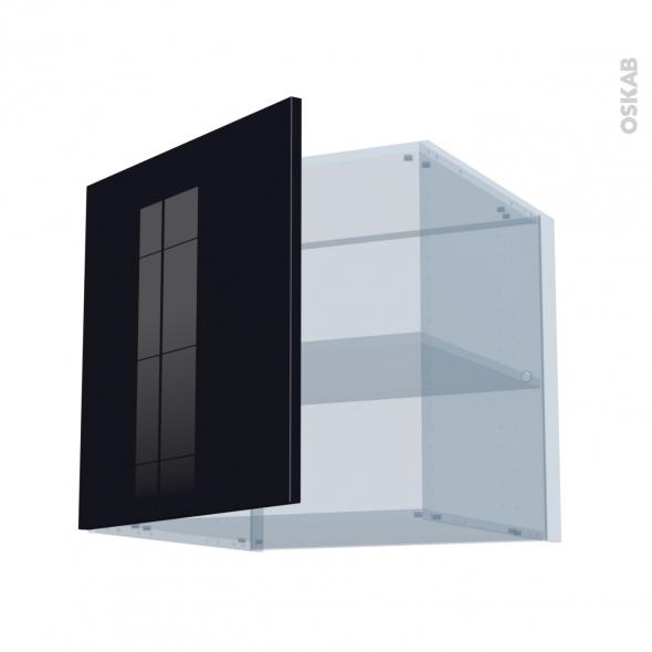 KERIA Noir - Kit Rénovation 18 - Meuble haut ouvrant H57 - 1 porte - L60xH57xP60