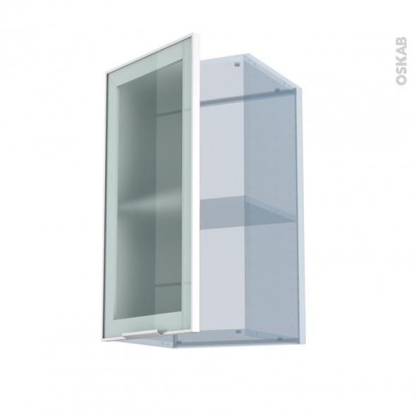 SOKLEO - Façade alu blanc vitrée - Kit Rénovation 18 - Meuble haut ouvrant H70  - 1 porte - L40xH70xP37,5