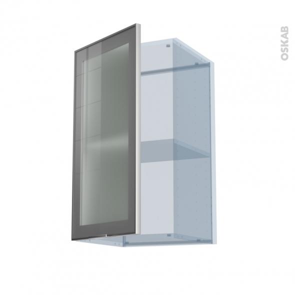 SOKLEO - Façade alu vitrée - Kit Rénovation 18 - Meuble haut ouvrant H70  - 1 porte - L40xH70xP37,5