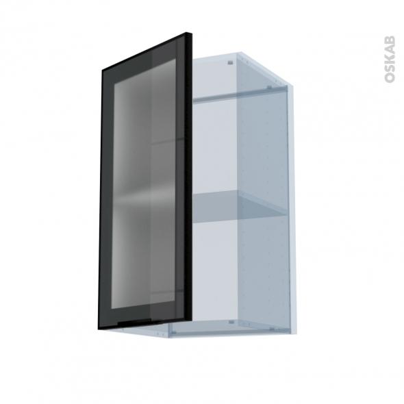 SOKLEO - Façade alu noir vitrée - Kit Rénovation 18 - Meuble haut ouvrant H70  - 1 porte - L40xH70xP37,5