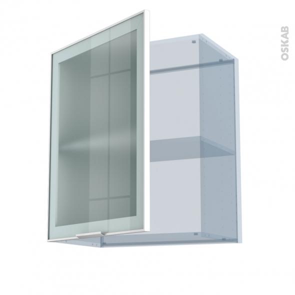 SOKLEO - Façade alu blanc vitrée - Kit Rénovation 18 - Meuble haut ouvrant H70  - 1 porte - L60xH70xP37,5