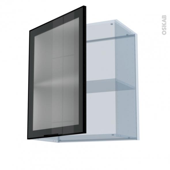 SOKLEO - Façade alu noir vitrée - Kit Rénovation 18 - Meuble haut ouvrant H70  - 1 porte - L60xH70xP37,5