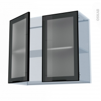 SOKLEO - Façade alu noir vitrée - Kit Rénovation 18 - Meuble haut ouvrant H70  - 2 portes - L80xH70xP37,5