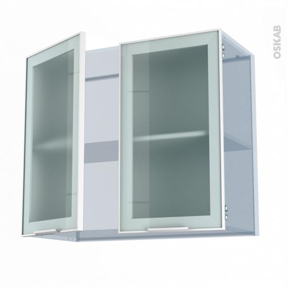 SOKLEO - Façade alu blanc vitrée - Kit Rénovation 18 - Meuble haut ouvrant H70  - 2 portes - L80xH70xP37,5