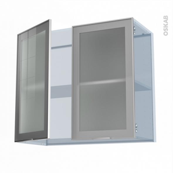 SOKLEO - Façade alu vitrée - Kit Rénovation 18 - Meuble haut ouvrant H70  - 2 portes - L80xH70xP37,5