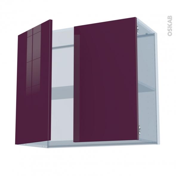 KERIA Aubergine - Kit Rénovation 18 - Meuble haut ouvrant H70  - 2 portes - L80xH70xP37,5