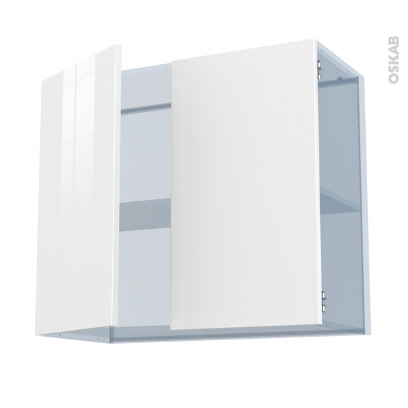 STECIA Blanc - Kit Rénovation 18 - Meuble haut ouvrant H70  - 2 portes - L80xH70xP37,5