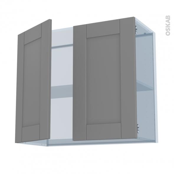 FILIPEN Gris - Kit Rénovation 18 - Meuble haut ouvrant H70  - 2 portes - L80xH70xP37,5
