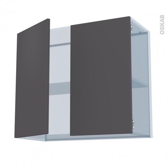 GINKO Gris - Kit Rénovation 18 - Meuble haut ouvrant H70  - 2 portes - L80xH70xP37,5