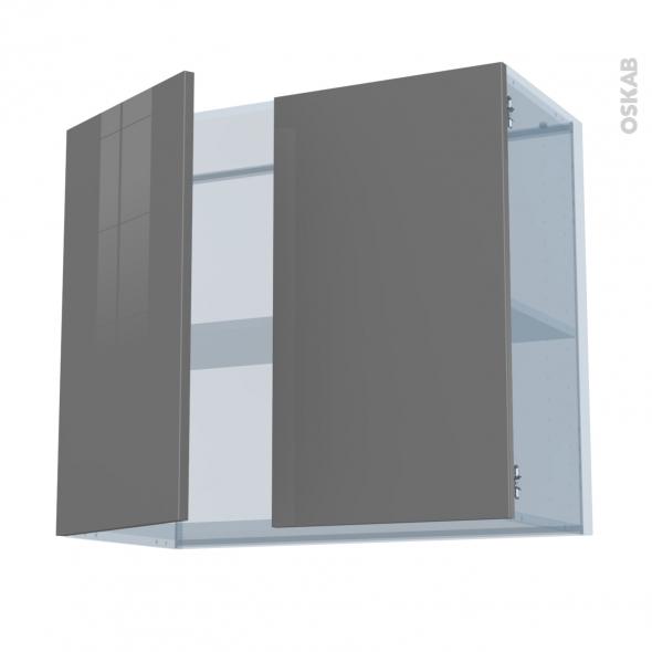 STECIA Gris - Kit Rénovation 18 - Meuble haut ouvrant H70  - 2 portes - L80xH70xP37,5