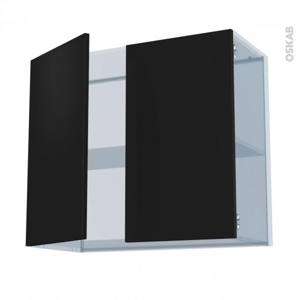 GINKO Noir - Kit Rénovation 18 - Meuble haut ouvrant H70  - 2 portes - L80xH70xP37,5