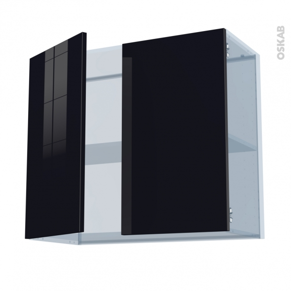 KERIA Noir - Kit Rénovation 18 - Meuble haut ouvrant H70  - 2 portes - L80xH70xP37,5