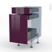 KERIA Aubergine - Kit Rénovation 18 - Meuble range épice - 3 tiroirs - L40xH70xP60