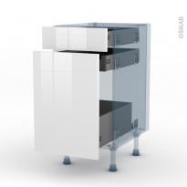 STECIA Blanc - Kit Rénovation 18 - Meuble range épice - 3 tiroirs - L40xH70xP60