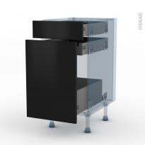 GINKO Noir - Kit Rénovation 18 - Meuble range épice - 3 tiroirs - L40xH70xP60