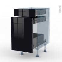KERIA Noir - Kit Rénovation 18 - Meuble range épice - 3 tiroirs - L40xH70xP60