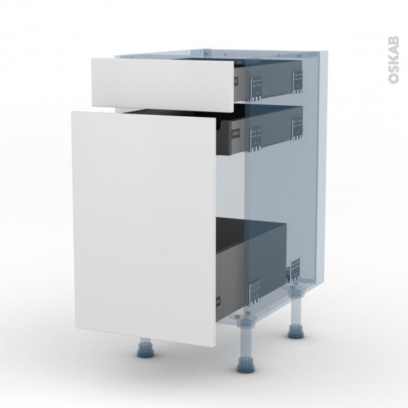 GINKO Blanc - Kit Rénovation 18 - Meuble range épice - 3 tiroirs - L40xH70xP60