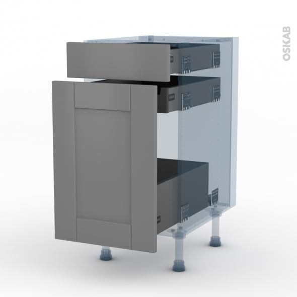FILIPEN Gris - Kit Rénovation 18 - Meuble range épice - 3 tiroirs - L40xH70xP60