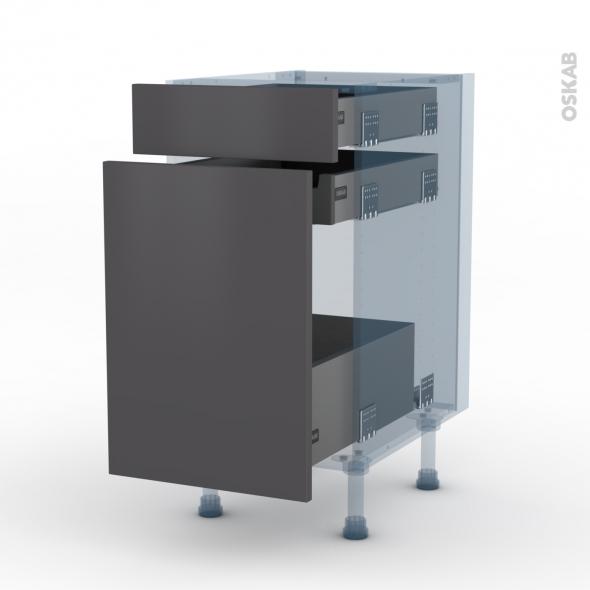 GINKO Gris - Kit Rénovation 18 - Meuble range épice - 3 tiroirs - L40xH70xP60