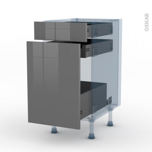 STECIA Gris - Kit Rénovation 18 - Meuble range épice - 3 tiroirs - L40xH70xP60