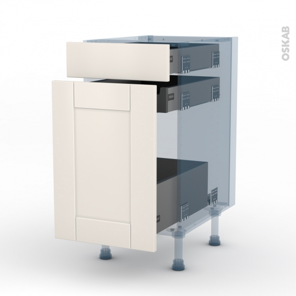 FILIPEN Ivoire - Kit Rénovation 18 - Meuble range épice - 3 tiroirs - L40xH70xP60