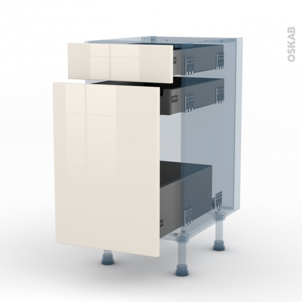 KERIA Ivoire - Kit Rénovation 18 - Meuble range épice - 3 tiroirs - L40xH70xP60