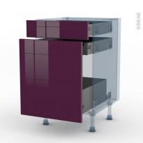 KERIA Aubergine - Kit Rénovation 18 - Meuble range épice - 3 tiroirs - L50xH70xP60