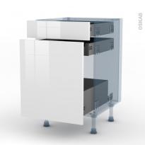 STECIA Blanc - Kit Rénovation 18 - Meuble range épice - 3 tiroirs - L50xH70xP60