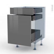STECIA Gris - Kit Rénovation 18 - Meuble range épice - 3 tiroirs - L50xH70xP60
