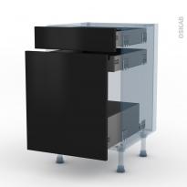 GINKO Noir - Kit Rénovation 18 - Meuble range épice - 3 tiroirs - L50xH70xP60