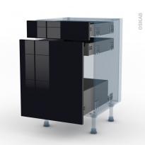 KERIA Noir - Kit Rénovation 18 - Meuble range épice - 3 tiroirs - L50xH70xP60