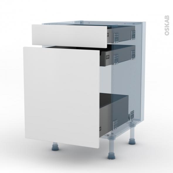 GINKO Blanc - Kit Rénovation 18 - Meuble range épice - 3 tiroirs - L50xH70xP60