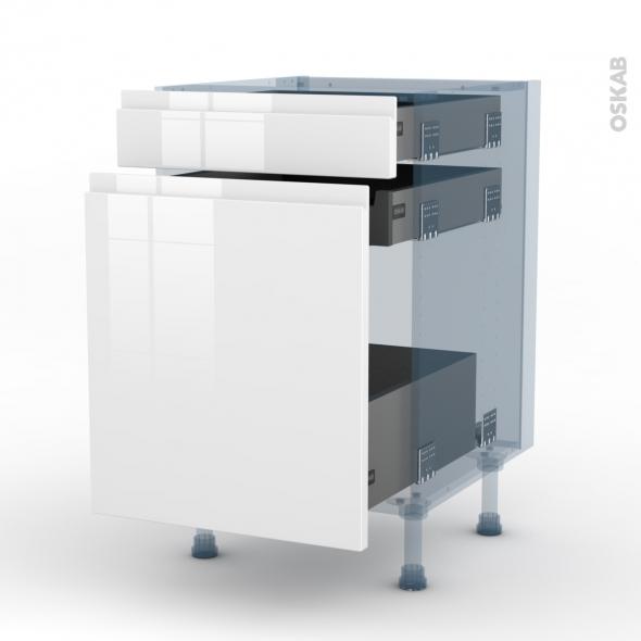 IPOMA Blanc - Kit Rénovation 18 - Meuble range épice - 3 tiroirs - L50xH70xP60