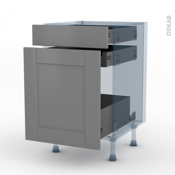 FILIPEN Gris - Kit Rénovation 18 - Meuble range épice - 3 tiroirs - L50xH70xP60