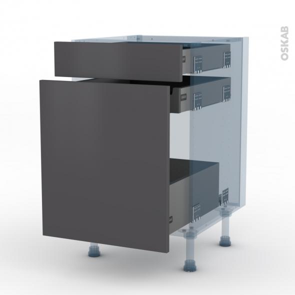 GINKO Gris - Kit Rénovation 18 - Meuble range épice - 3 tiroirs - L50xH70xP60