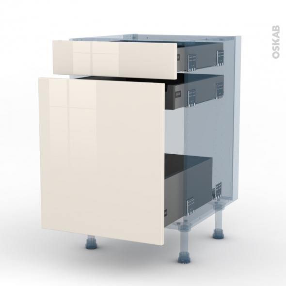KERIA Ivoire - Kit Rénovation 18 - Meuble range épice - 3 tiroirs - L50xH70xP60