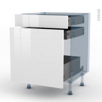 STECIA Blanc - Kit Rénovation 18 - Meuble range épice - 3 tiroirs - L60xH70xP60