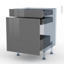 STECIA Gris - Kit Rénovation 18 - Meuble range épice - 3 tiroirs - L60xH70xP60