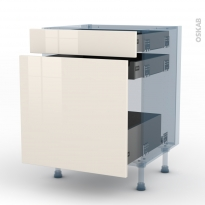 KERIA Ivoire - Kit Rénovation 18 - Meuble range épice - 3 tiroirs - L60xH70xP60