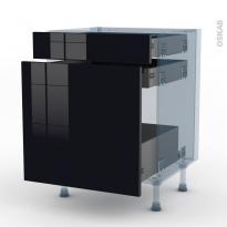 KERIA Noir - Kit Rénovation 18 - Meuble range épice - 3 tiroirs - L60xH70xP60