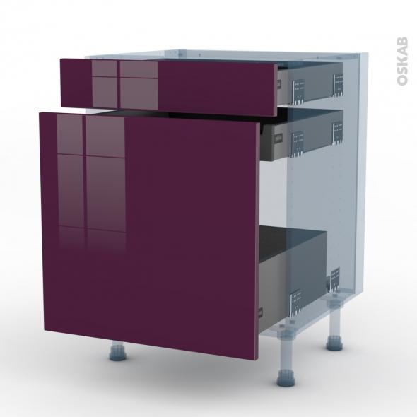 KERIA Aubergine - Kit Rénovation 18 - Meuble range épice - 3 tiroirs - L60xH70xP60