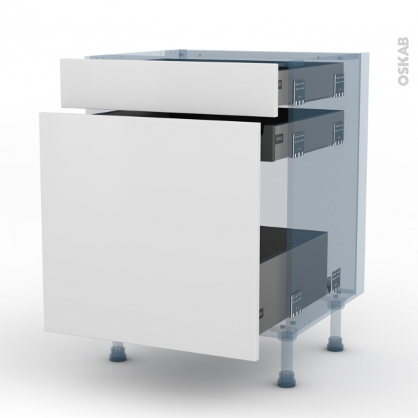 GINKO Blanc - Kit Rénovation 18 - Meuble range épice - 3 tiroirs - L60xH70xP60