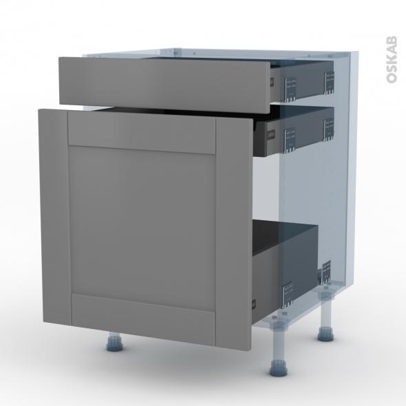 FILIPEN Gris - Kit Rénovation 18 - Meuble range épice - 3 tiroirs - L60xH70xP60