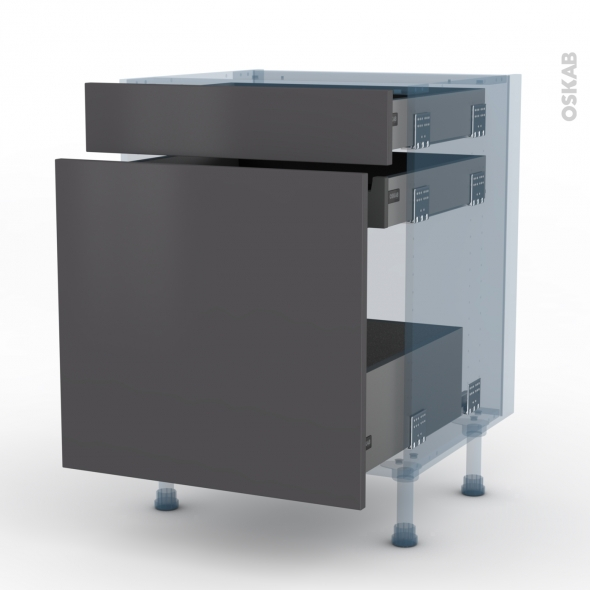 GINKO Gris - Kit Rénovation 18 - Meuble range épice - 3 tiroirs - L60xH70xP60