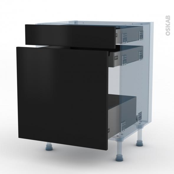 GINKO Noir - Kit Rénovation 18 - Meuble range épice - 3 tiroirs - L60xH70xP60
