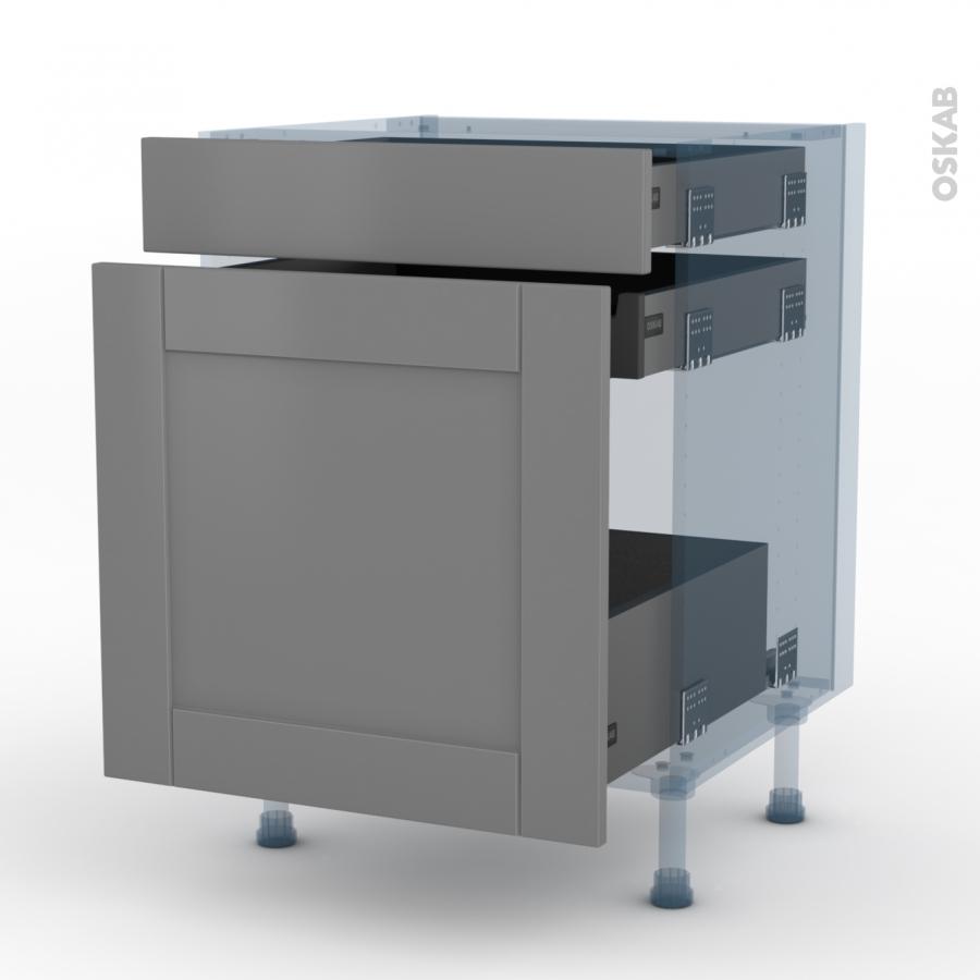 filipen gris kit r novation 18 meuble range pice 3 tiroirs l60xh70xp60 oskab. Black Bedroom Furniture Sets. Home Design Ideas