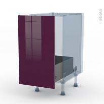 KERIA Aubergine - Kit Rénovation 18 - Meuble sous-évier  - 1 porte coulissante - L40xH70xP60