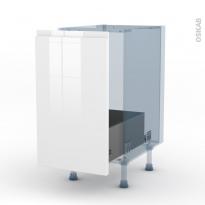 IPOMA Blanc brillant - Kit Rénovation 18 - Meuble sous-évier  - 1 porte coulissante - L40xH70xP60
