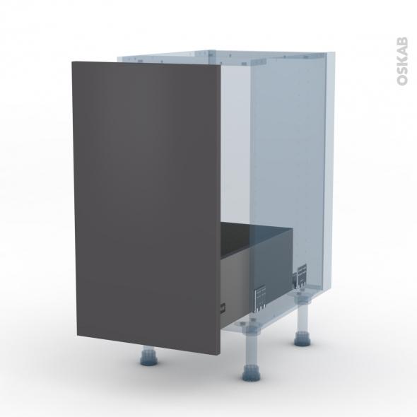 GINKO Gris - Kit Rénovation 18 - Meuble sous-évier  - 1 porte coulissante - L40xH70xP60